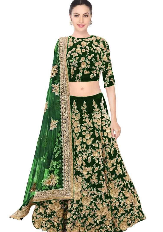 043e38e406 Elegant Green Color Wedding Wear Heavy Embroidered Velvet Lehenga Buy this  Elegant Green Color Wedding Wear Heavy Embroidered Velvet Lehenga at Gunj  Fashion