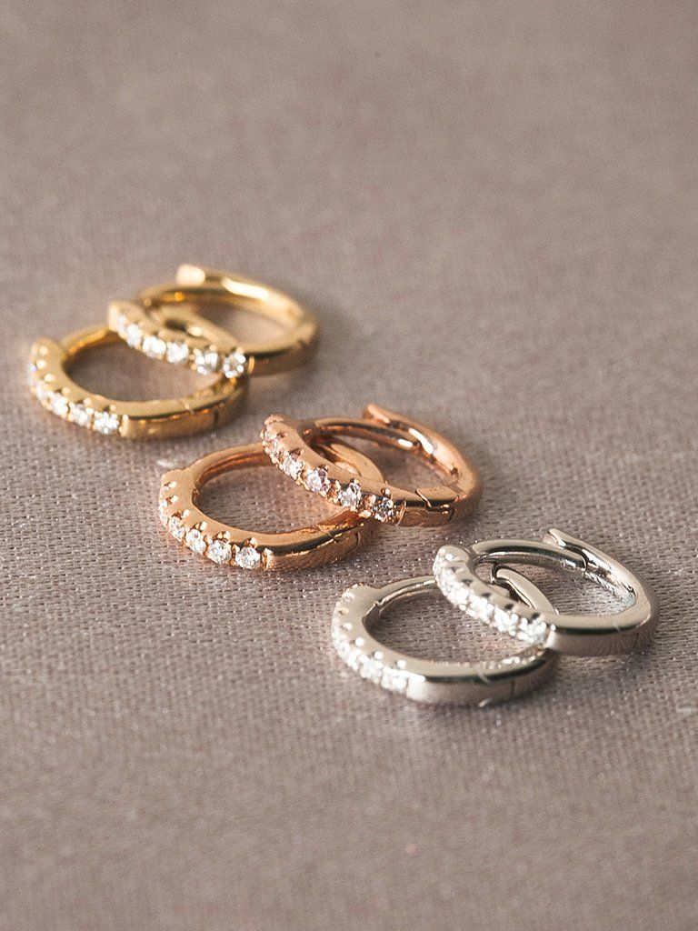 The Classique Pave Huggies 9mm Sunny Days Jewelry Piercings
