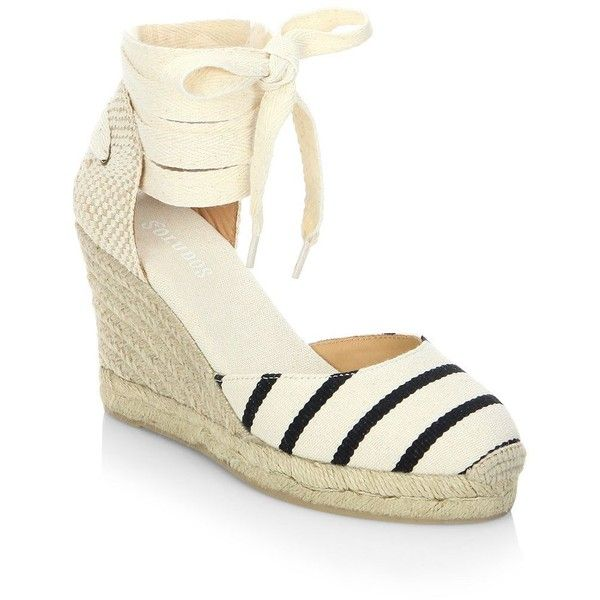 Soludos Striped Gladiator Tall Wedge Sandals ($95) ❤ liked on Polyvore  featuring shoes,