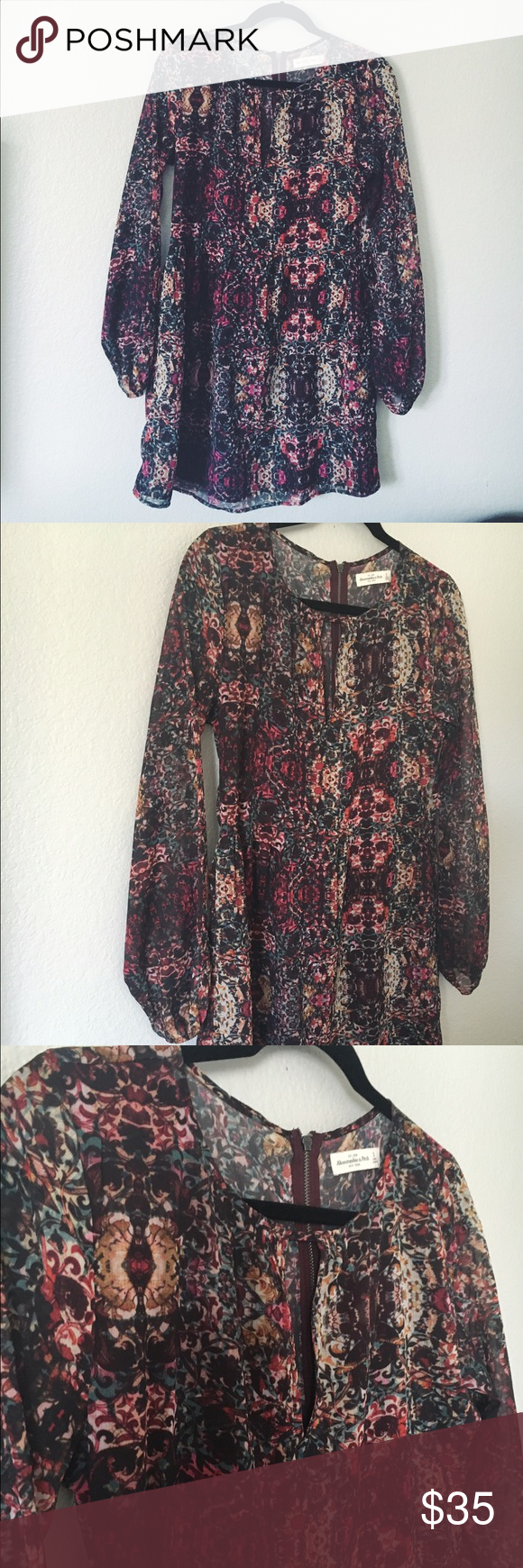 Abercrombie & Fitch Floral Bohemian Dress long sleeve dress with small keyhole slit at the neckline Abercrombie & Fitch Dresses Long Sleeve
