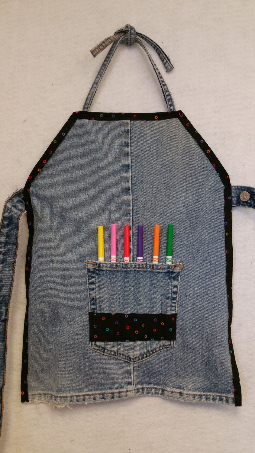 Kids Art Craft Denim Apron Size L 7 8 Made Of Upcycled Denim Jeans