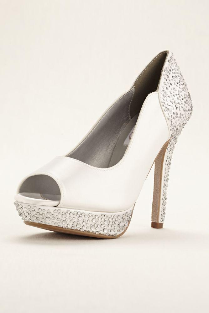Lace/Satin Combo Rosa Dyeable Wedding & Bridesmaid Platform Pump - White,  9.5 Women's
