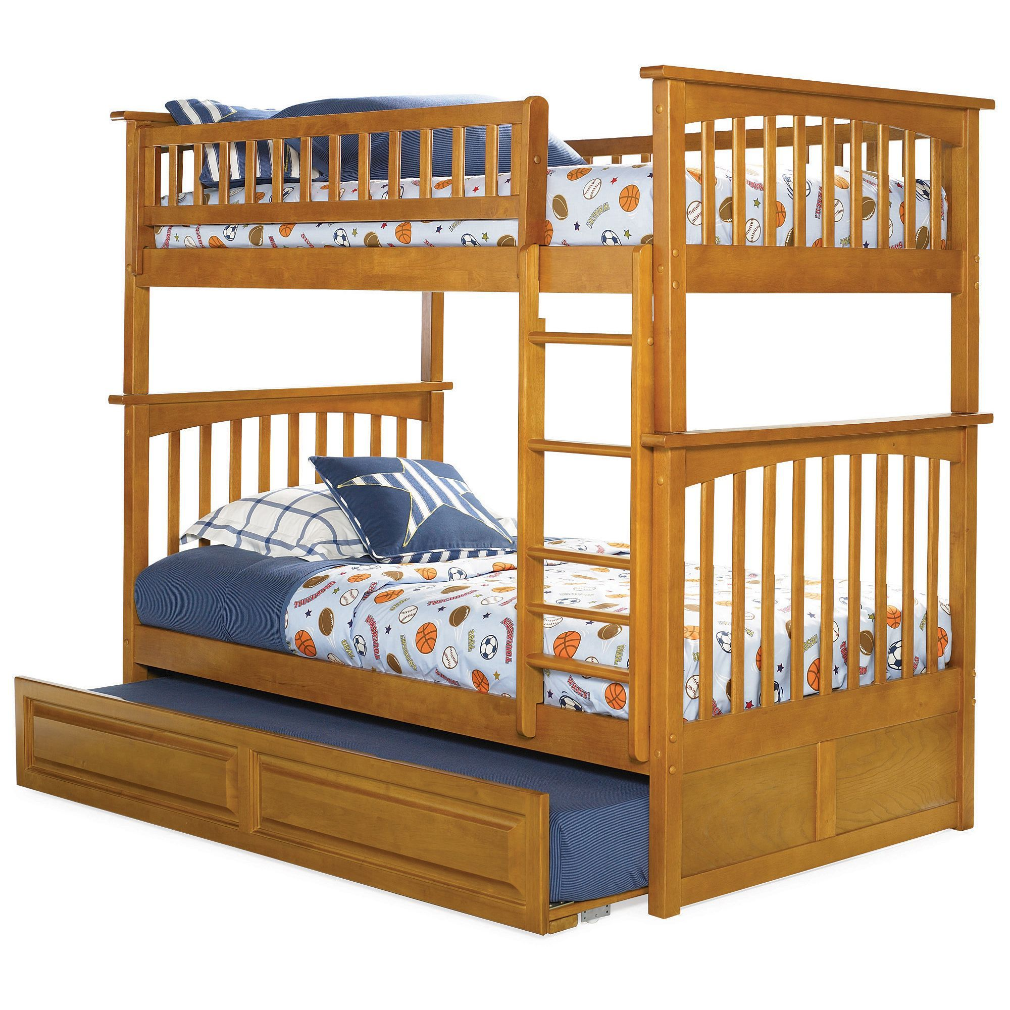 Atlantic Columbia Twin Over Bunk Bed With Raised Panel Trundle In Caramel Latte