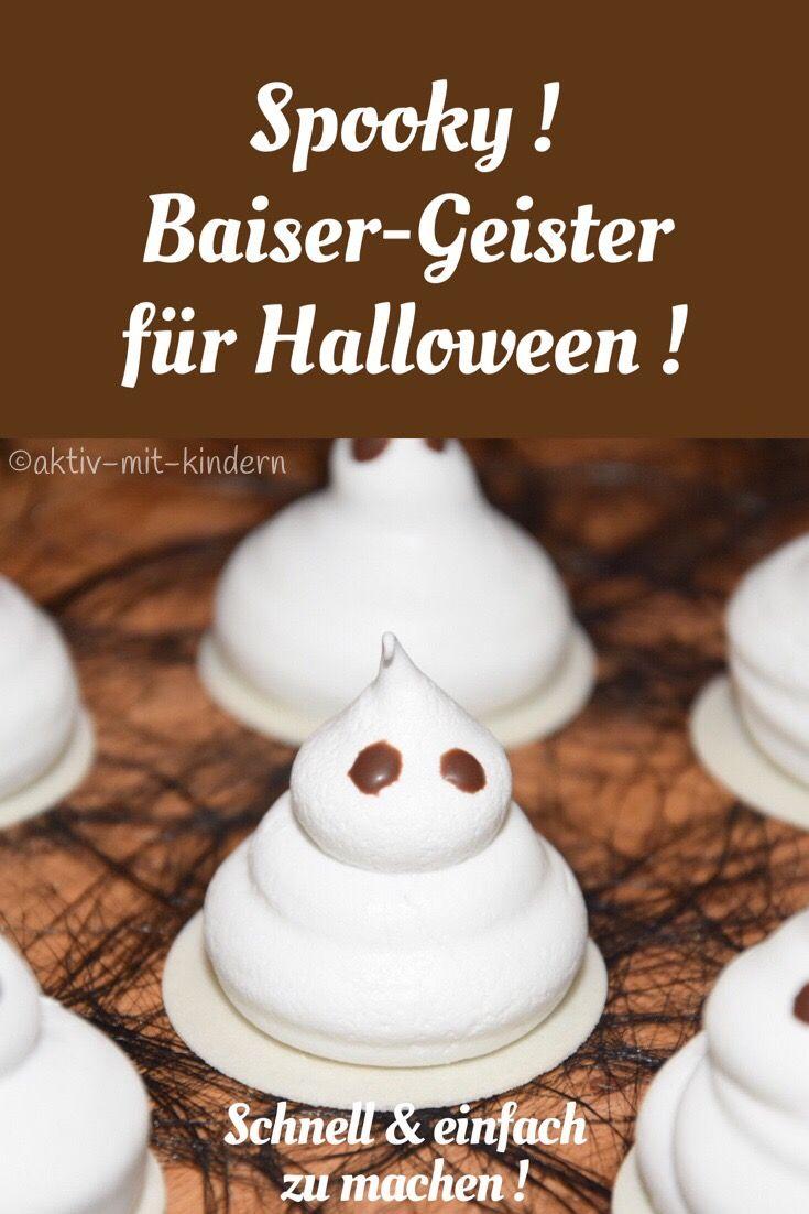 Süße Baiser-Geister für Halloween! | Baiser, Halloween und Schnell