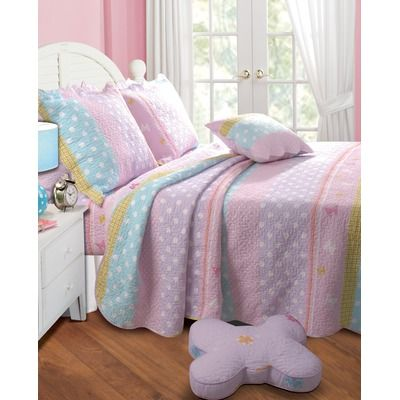 Sandown Pretty Polka Quilted Bedding Set Quilt Sets
