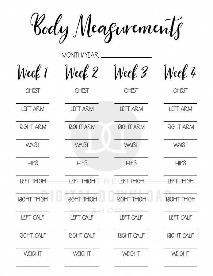 2 body measurement tracker printables for bullet journals and other planners. Us…
