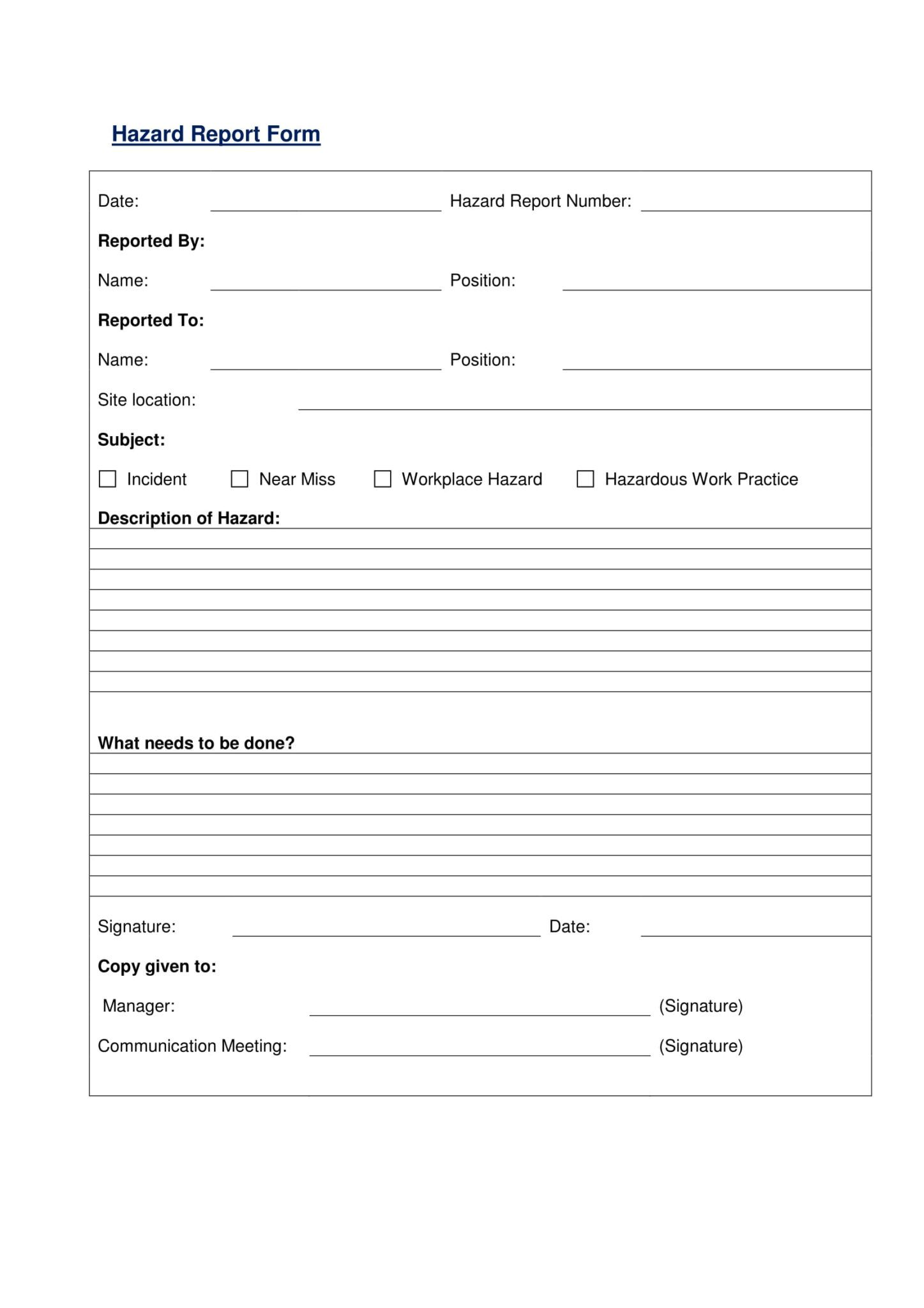 Free 13 Hazard Report Forms In Ms Word Pdf With Hazard Incident Report Form Template Incident Report Form Ms Word Incident Report