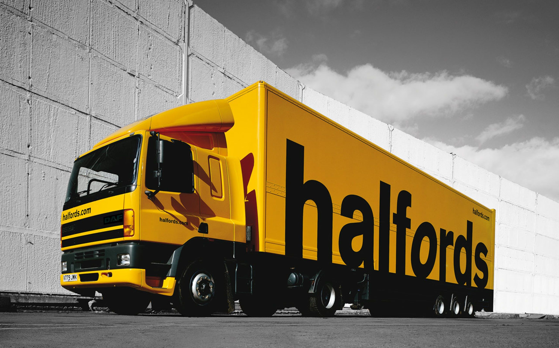 Halfords Truck Environmental Graphics Logo Design Italian Design