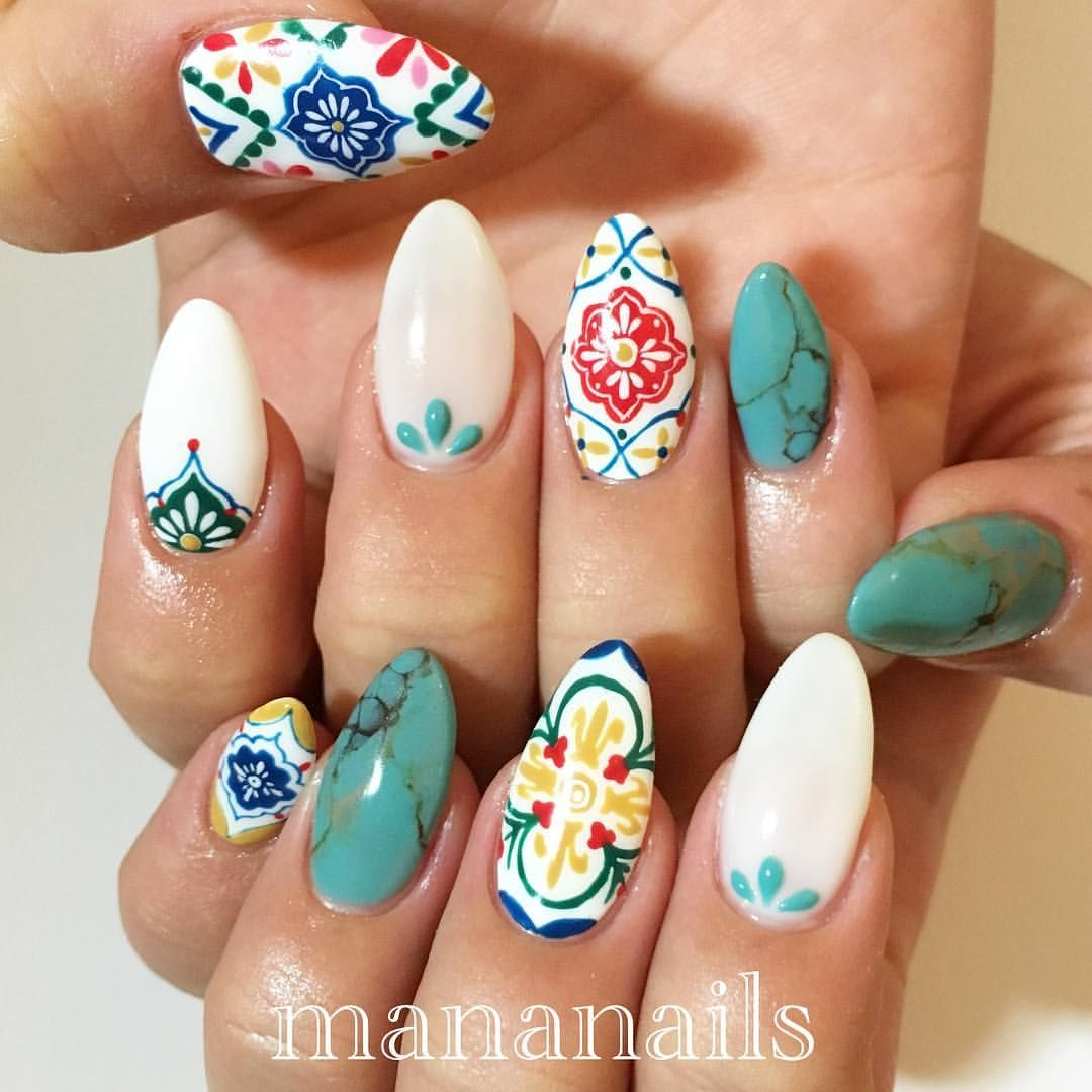 Tile u turquoise nails in pinterest nails nail art and
