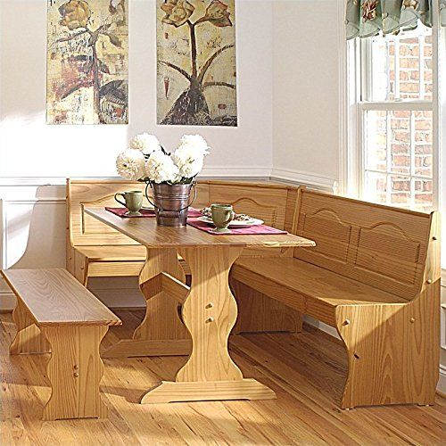 Linon Chelsea Kitchen Dining Nook Set in Natural Finish ** To view ...