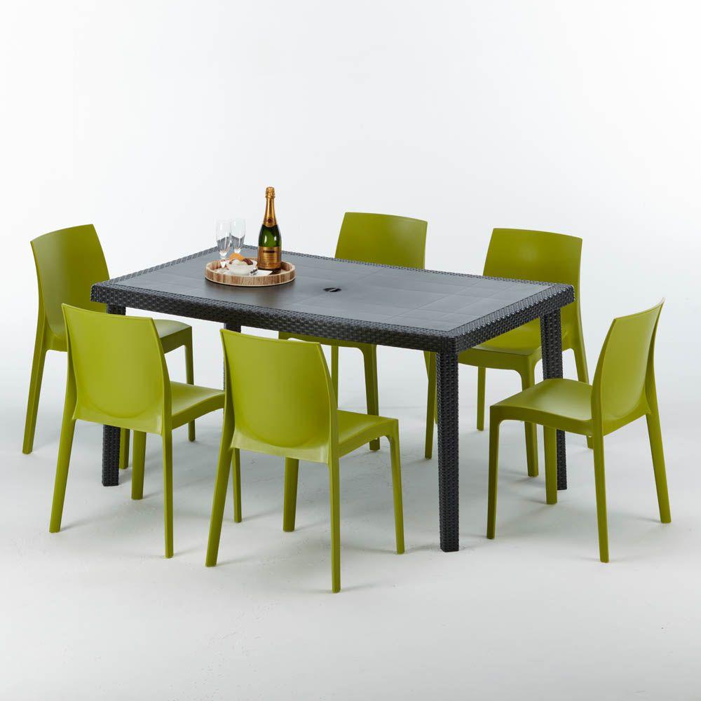 Tavolo E Sedie In Rattan Sintetico.Tavolo Rettangolare Con 6 Sedie Rattan Sintetico Giardino Colorate