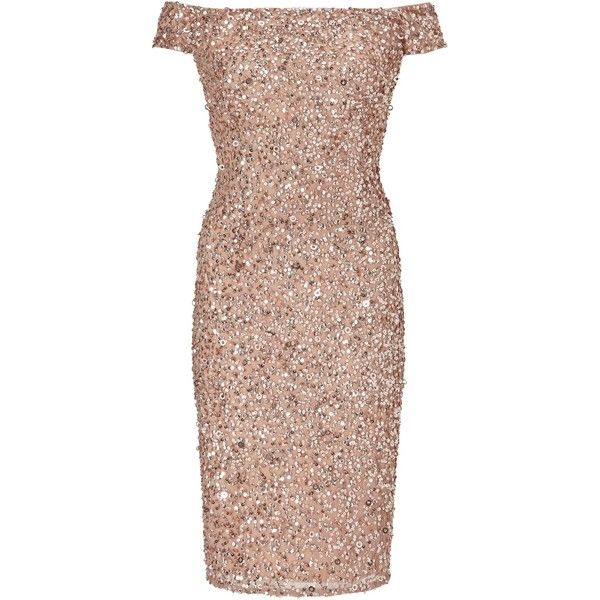 Adrianna Papell Off Shoulder Bead Dress, Rose Gold (13.915 RUB) ❤ liked on