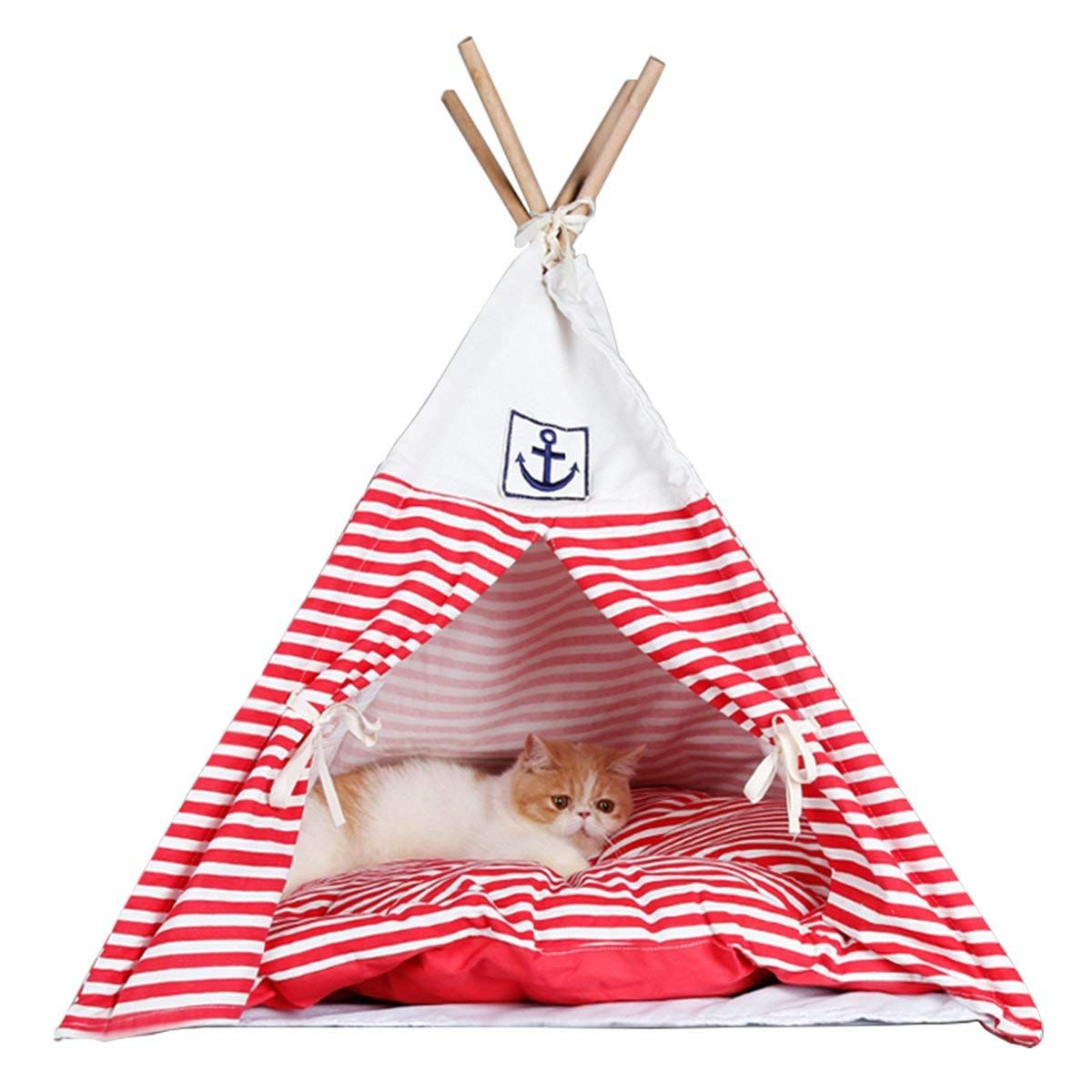 Penck Pet Supplies Washable Durable Navy Stripe Style Pet House Tent And Pet Bed Mat For Little Dogs And Cats 28 Inch Tall Tent Wi With Images Teddy Dog Dog House