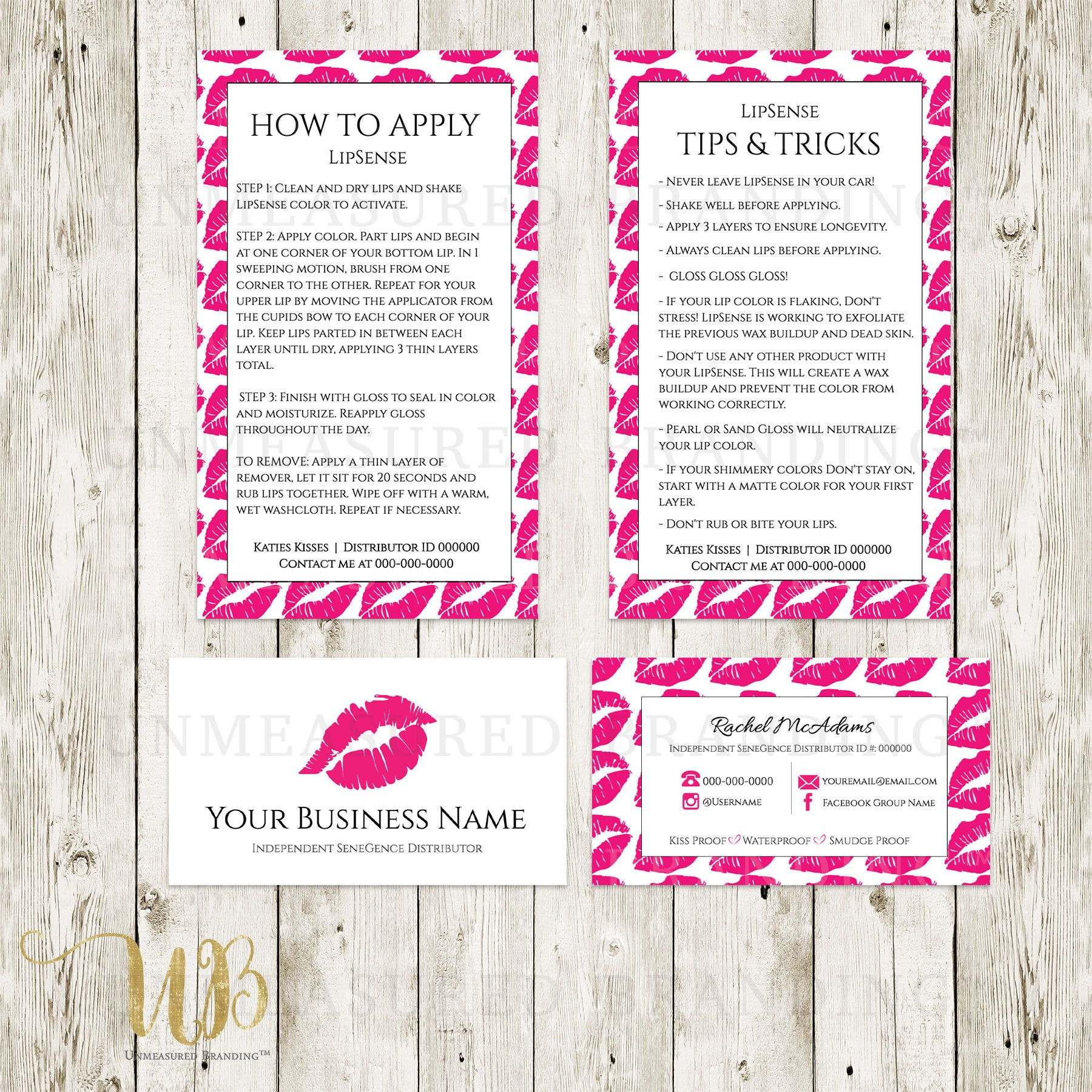 Hot Pink|Lip Pattern|White|LipSense Business Cards|LipSense|LipSense ...