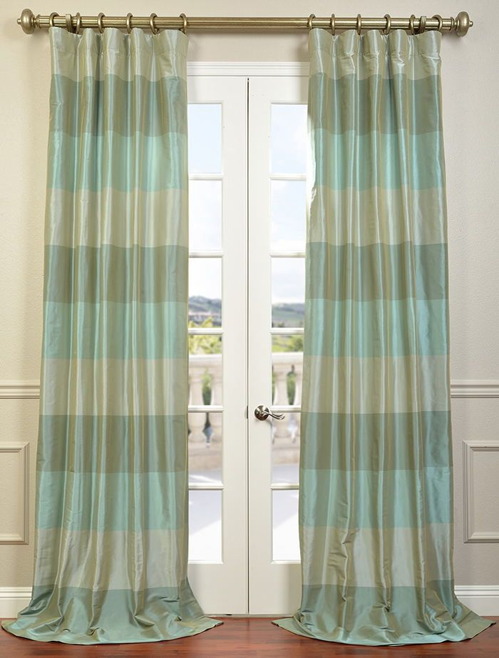 Buy Jade Teal Iridescence Faux Silk Taffeta Curtain Drapes
