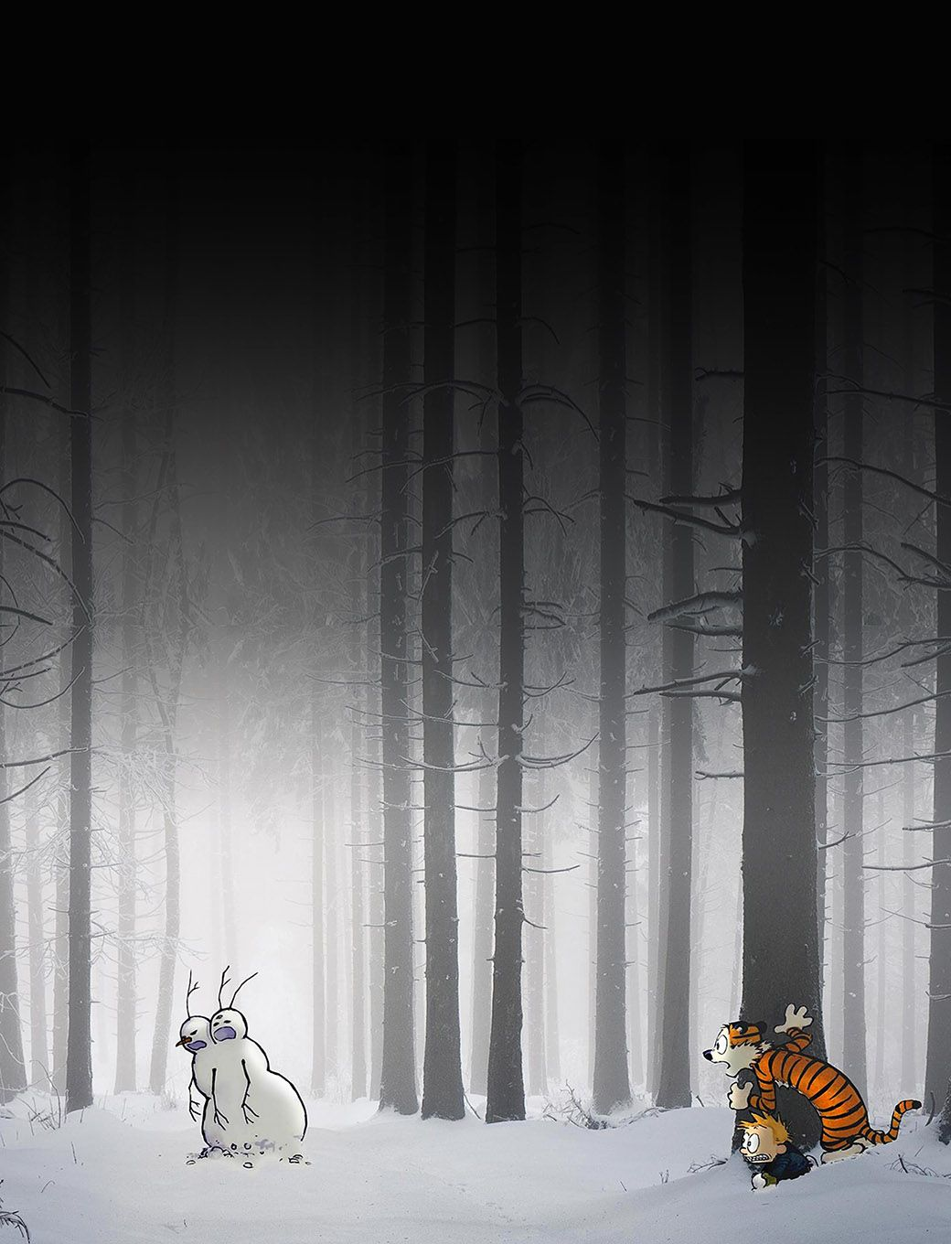 Freeios7 Calvin-hobbes-hiding - Parallax Hd Iphone Ipad