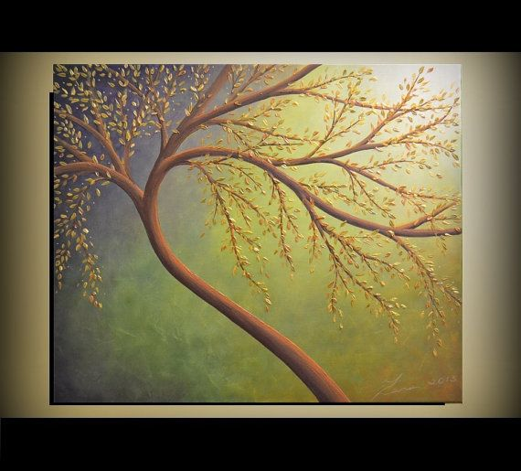 Original Contemporary Fine Art Tree of Life Painting Abstract Landscape 24x20 Ready to Hang Home Decor on Etsy, $225.00