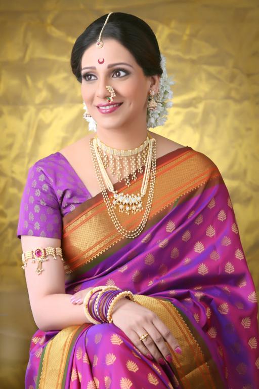 Pretty Pearls Indian Bridal Fashion Beautiful Saree Nauvari Saree