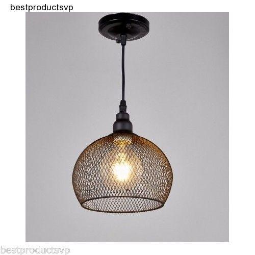 Wire-Pendant-Light-Fixture-Vintage-Black-Industrial-Metal-Ceiling ...