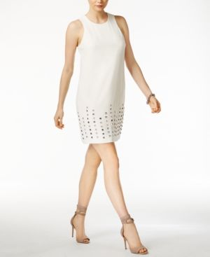 Rachel Rachel Roy Studded-Hem Shift Dress - Ivory/Cream 14