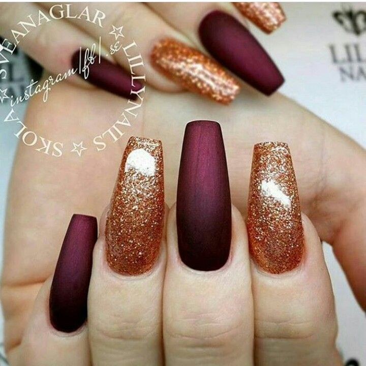 Glitter Gold and Burgendy Coffin nails | NaiL GaMe | Pinterest ...