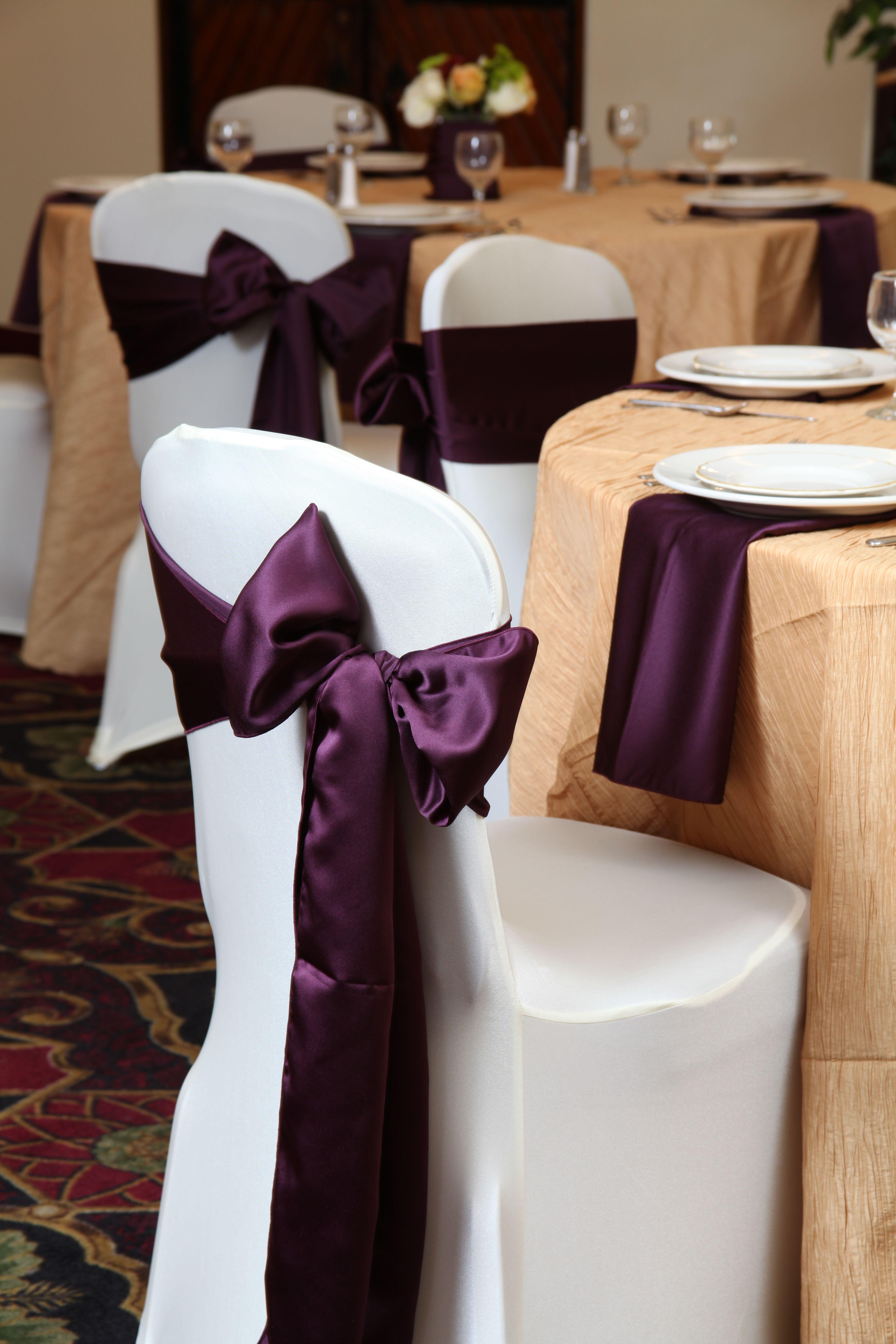 Eggplant satin sash my wedding wedding reception