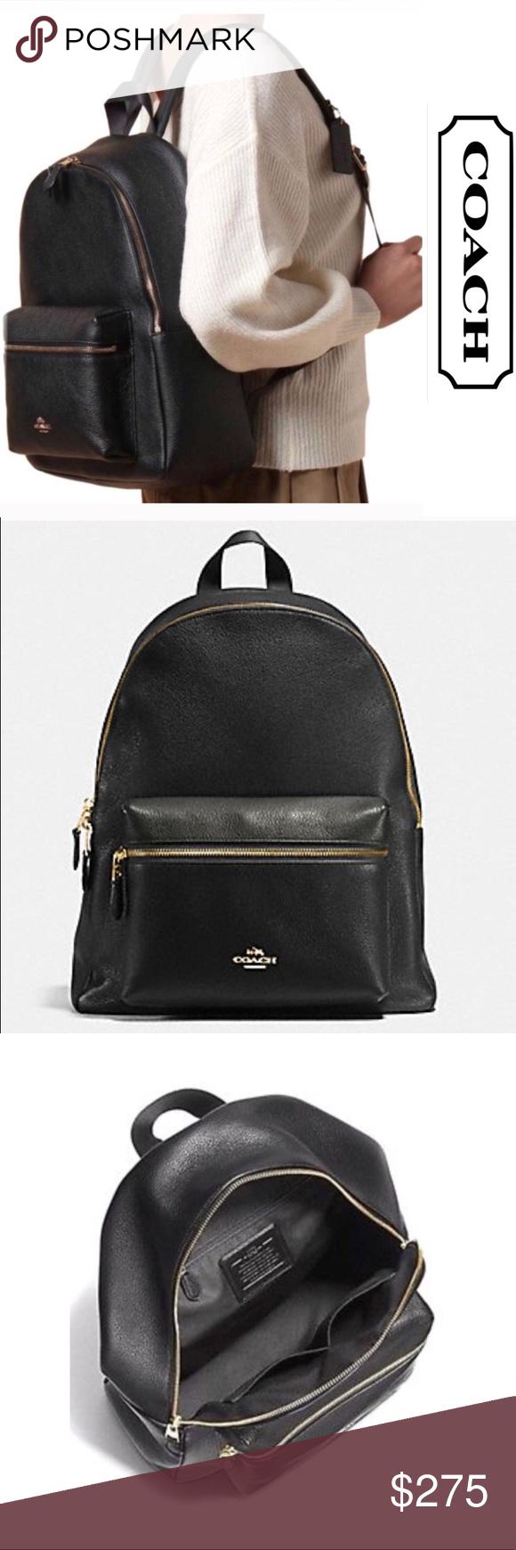 c9f0f4dae Large COACH Charlie Black Leather Backpack Purse Large coach backpack purse.  Authentic. Coach Bags Backpacks
