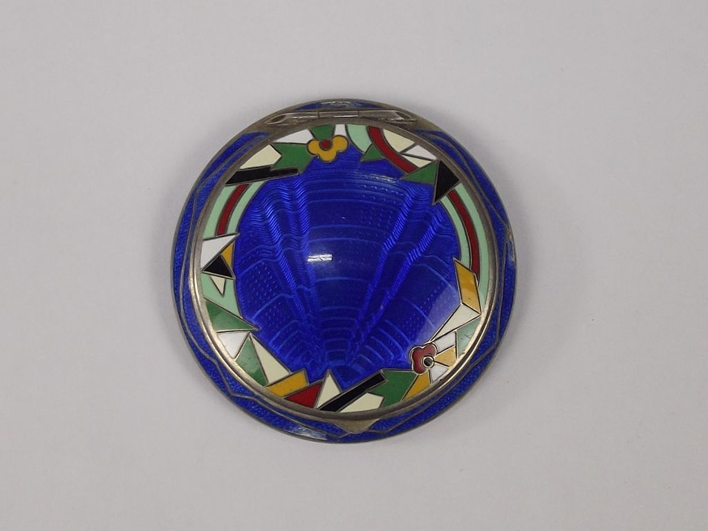 French Art Deco Silver & Enamel Powder Compact With Rotating Dispenser