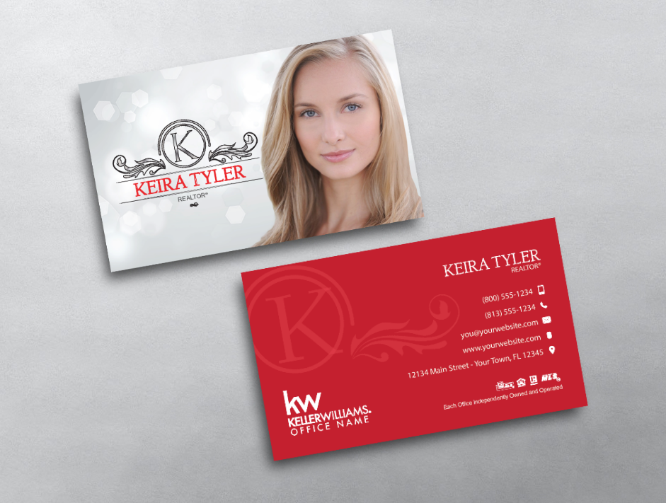 This Elegant And Beautiful Keller Williams Business Card Design Features A Sty Keller Williams Business Cards Realtor Business Cards Real Estate Business Cards
