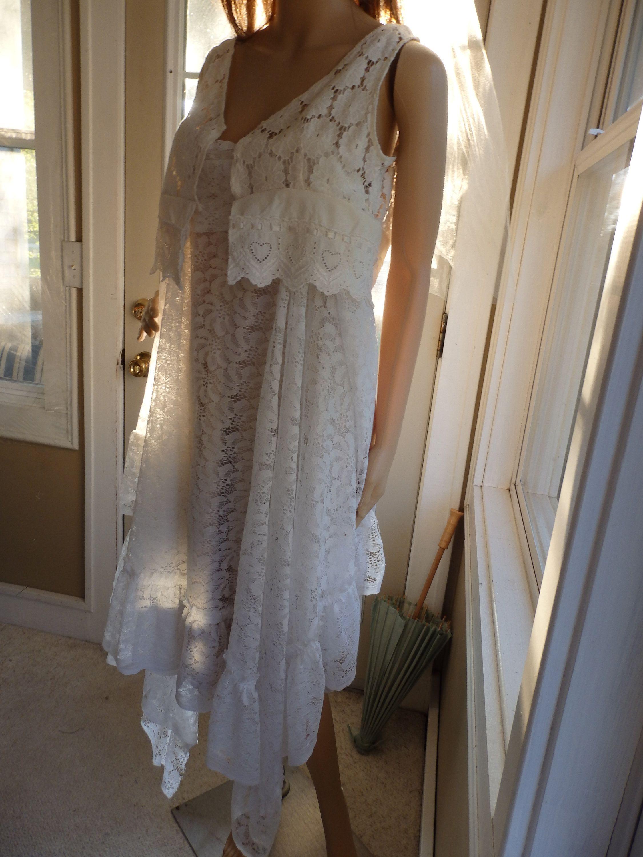 Lace Slip Dress White Fairy Costume Wedding Wear Sz M Lace Slip Dress Elven Dress Fairy Dress [ 3000 x 2250 Pixel ]