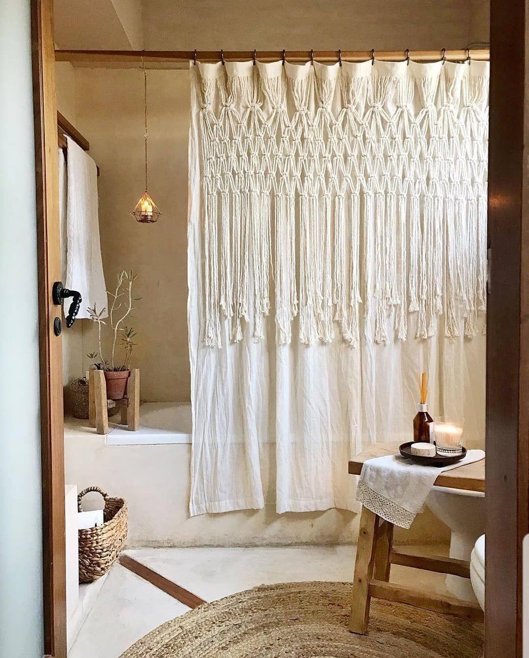 Beautiful White Bohemian Shower Curtain With Macrame Detailing Trending In Bathroom Decor Ai Lace Shower Curtains Cool Shower Curtains White Shower Curtain
