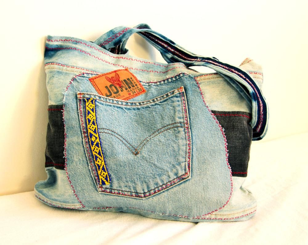 I like when things are recycled. There is a bag made from used jeans. from www.sashe.sk/Pubba