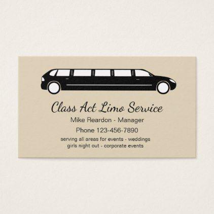 Simple Limousine Courier Service Business Card Zazzle Com Courier Service Business Business Cards Simple Services Business