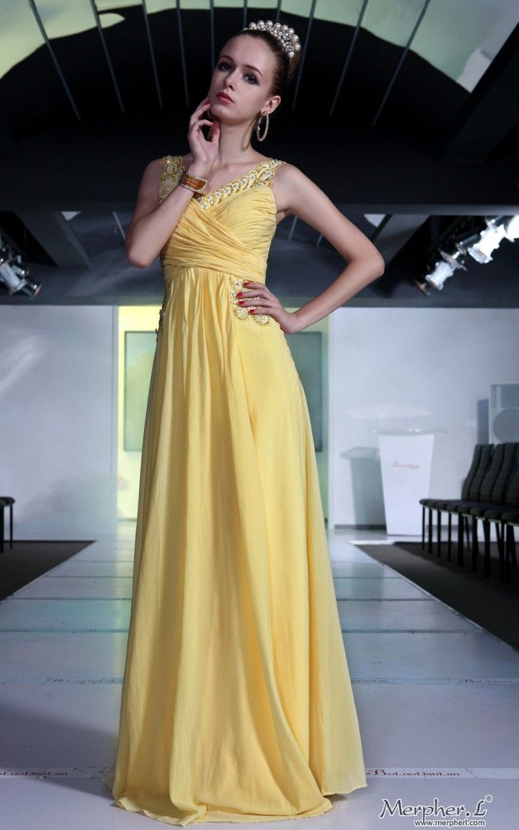 Elegant bridesmaid ball yellow cocktail chiffon draped long evening