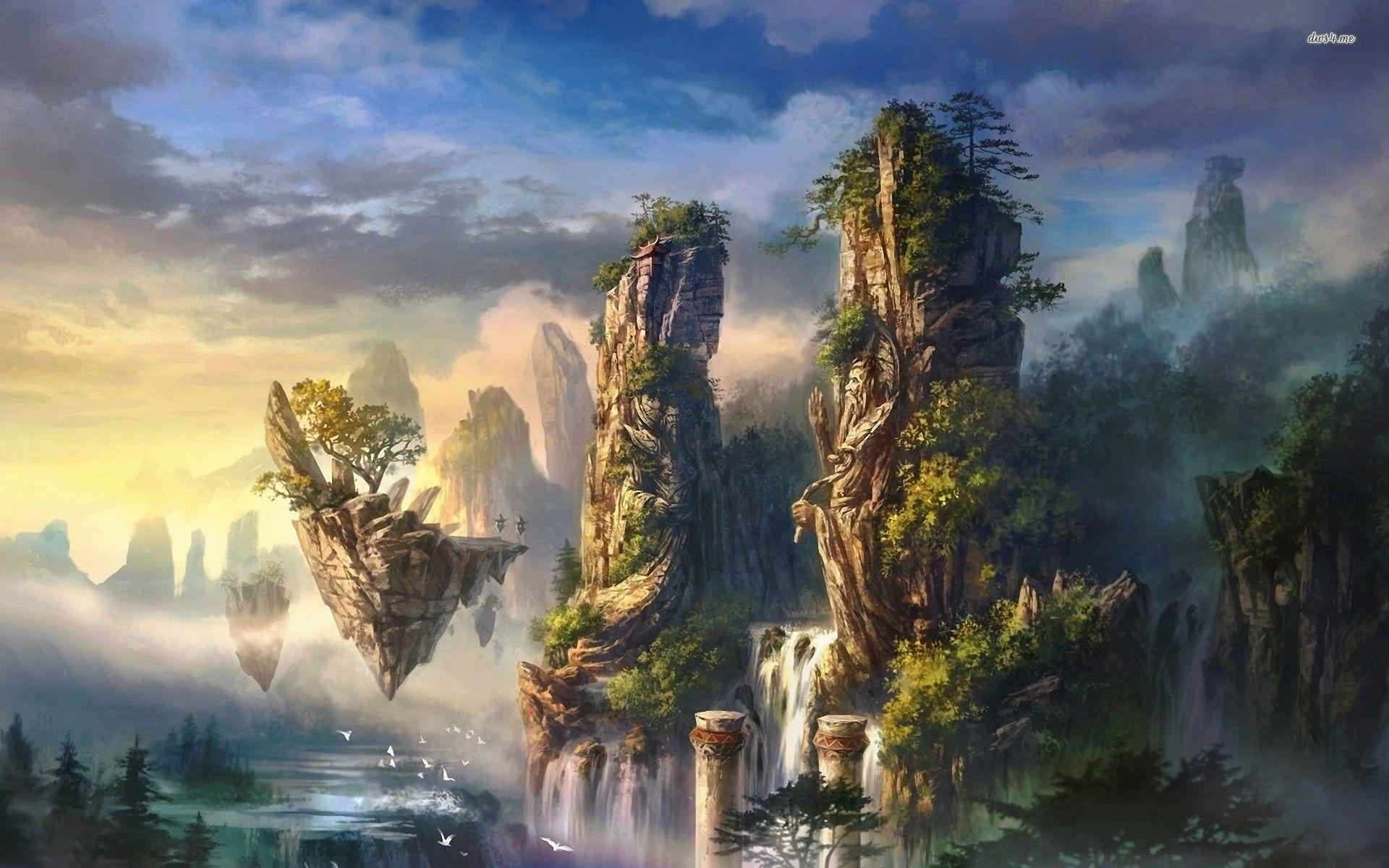 Fantasy Tree Bird Sky Island Rock Fantasy landscape