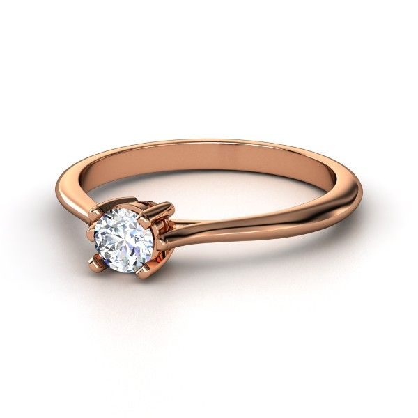 Round Diamond 14K Rose Gold Ring - Simply Round Solitaire | Gemvara