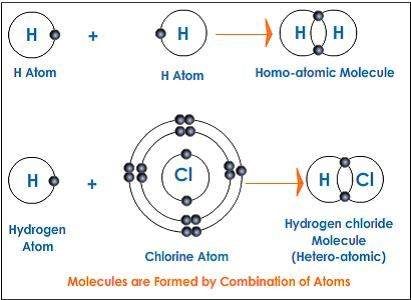 Molecules are formed by combination of atoms or ions by chemically - molecule vs atom