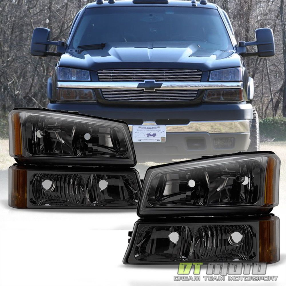 Smoked 2003 2006 Chevy Silverado Headlights Per Signal Lamps 03 04 05 06 Ebay