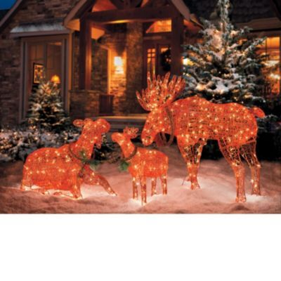 Lighted Moose Christmas Decorations \