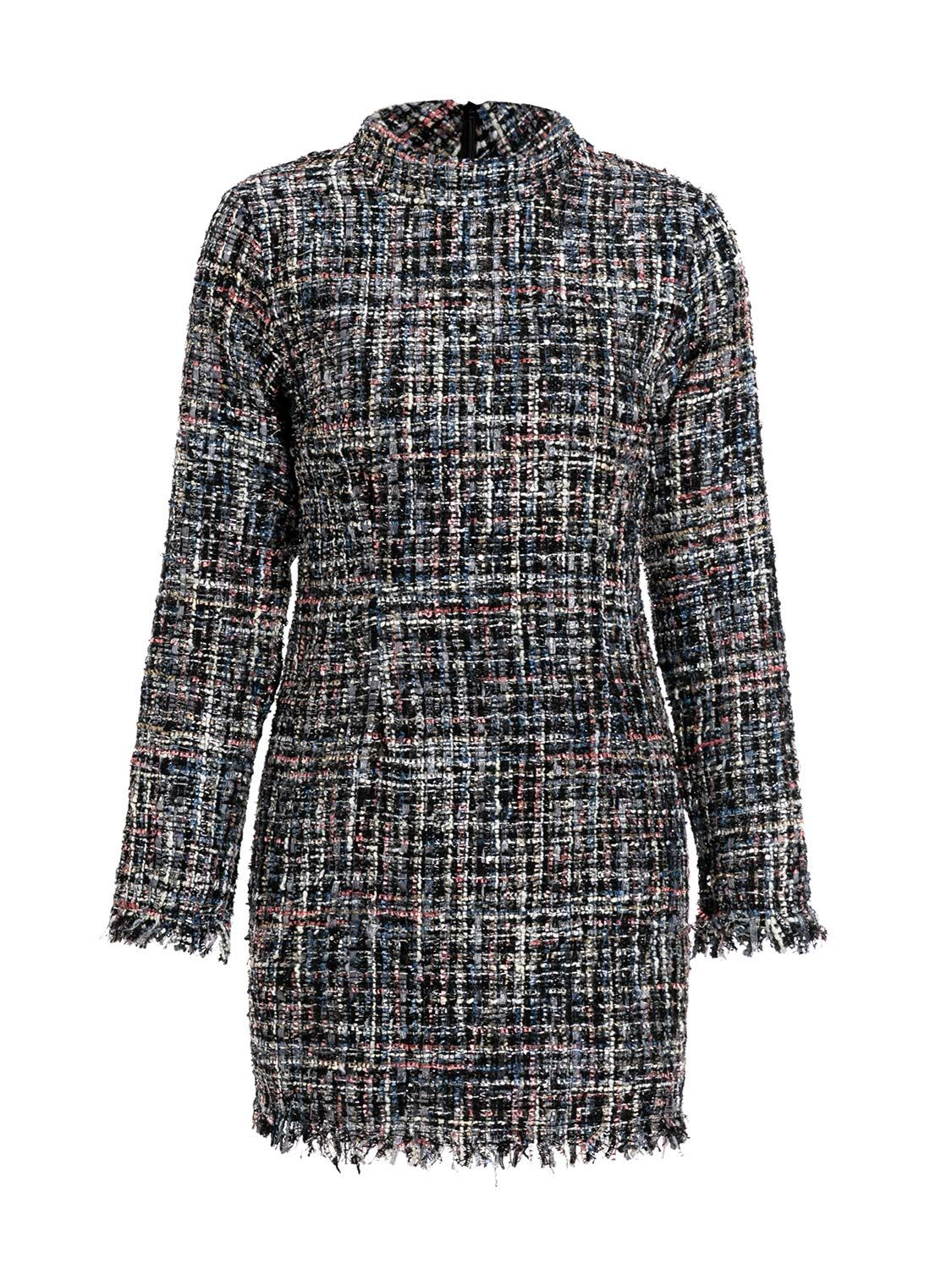 c613214cbfd Miessial Women s Plaid Tweed Mini Dress Long Sleeve Elegant Office Dress