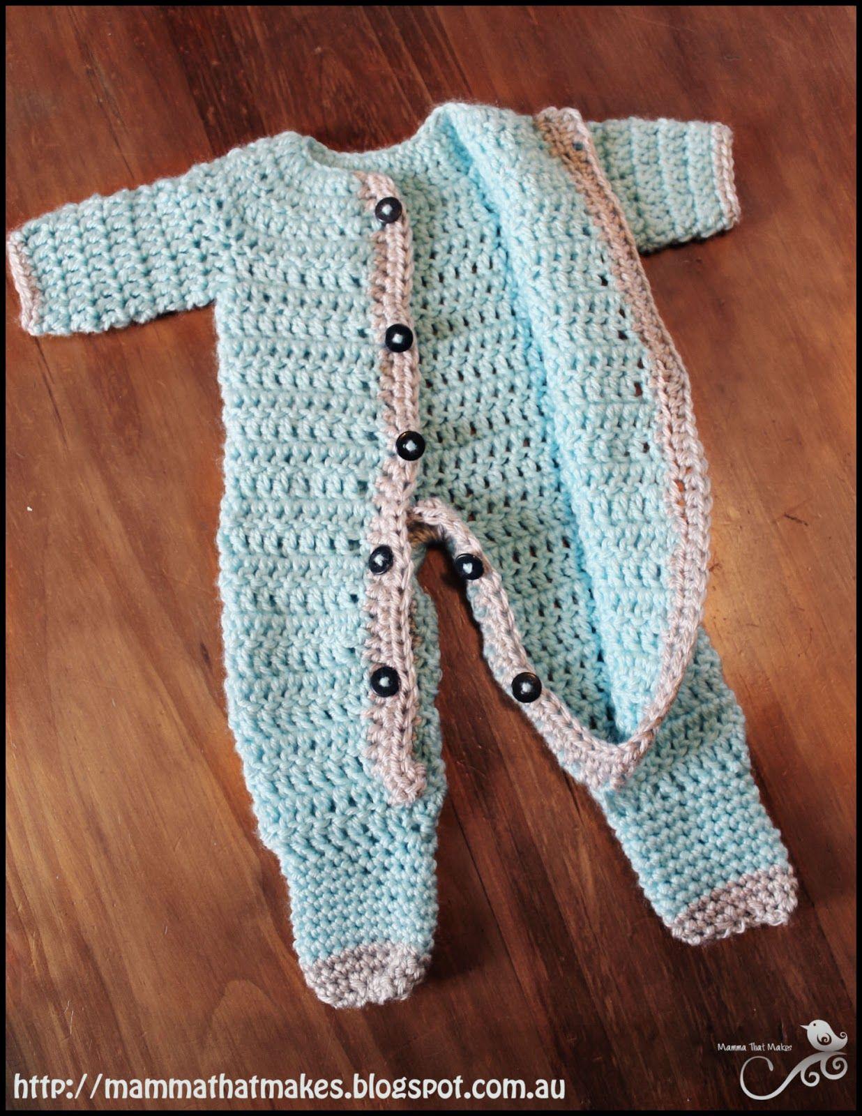 Ezra Romper. A free crochet prem baby pattern from Mamma That Makes ...