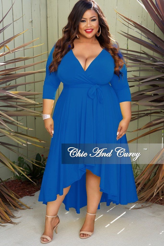 7b0cdc28c65 New Plus Size Faux Wrap High-Low Dress with Attached Tie in Royal Blue i  2019