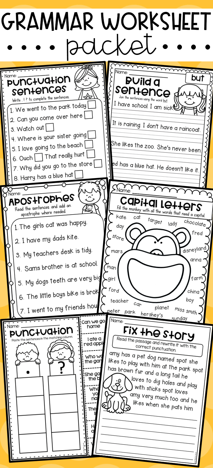 grammar worksheet packet sentences punctuation capitals conjunctions more intervention. Black Bedroom Furniture Sets. Home Design Ideas