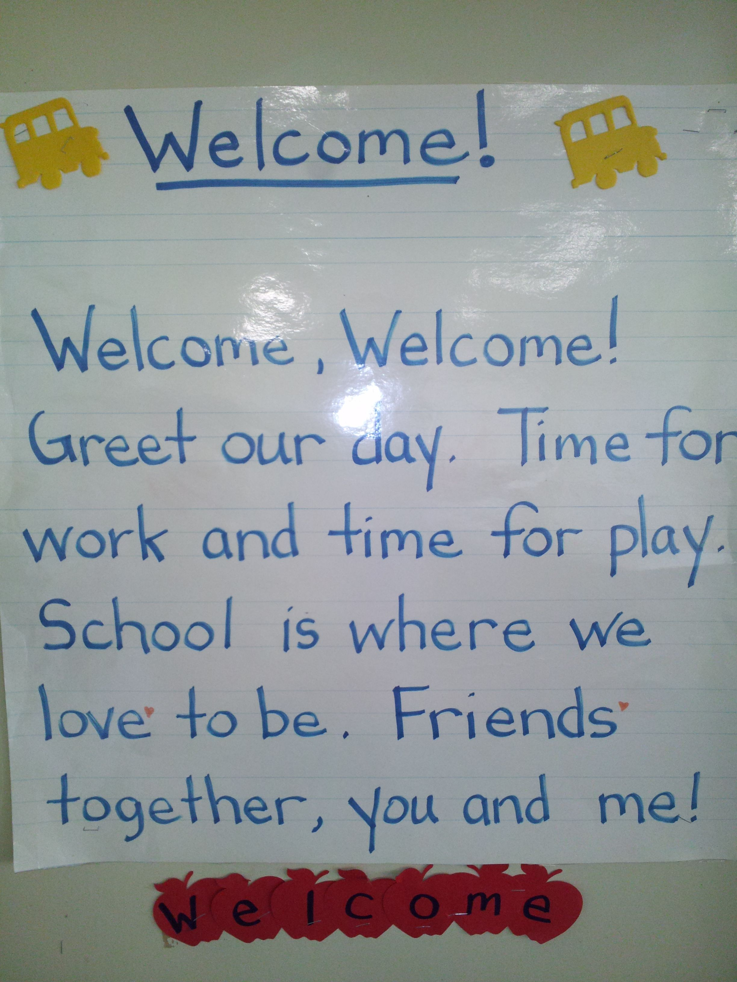 Welcome Poem For Beginning Of School Good To Use At Morning Circle