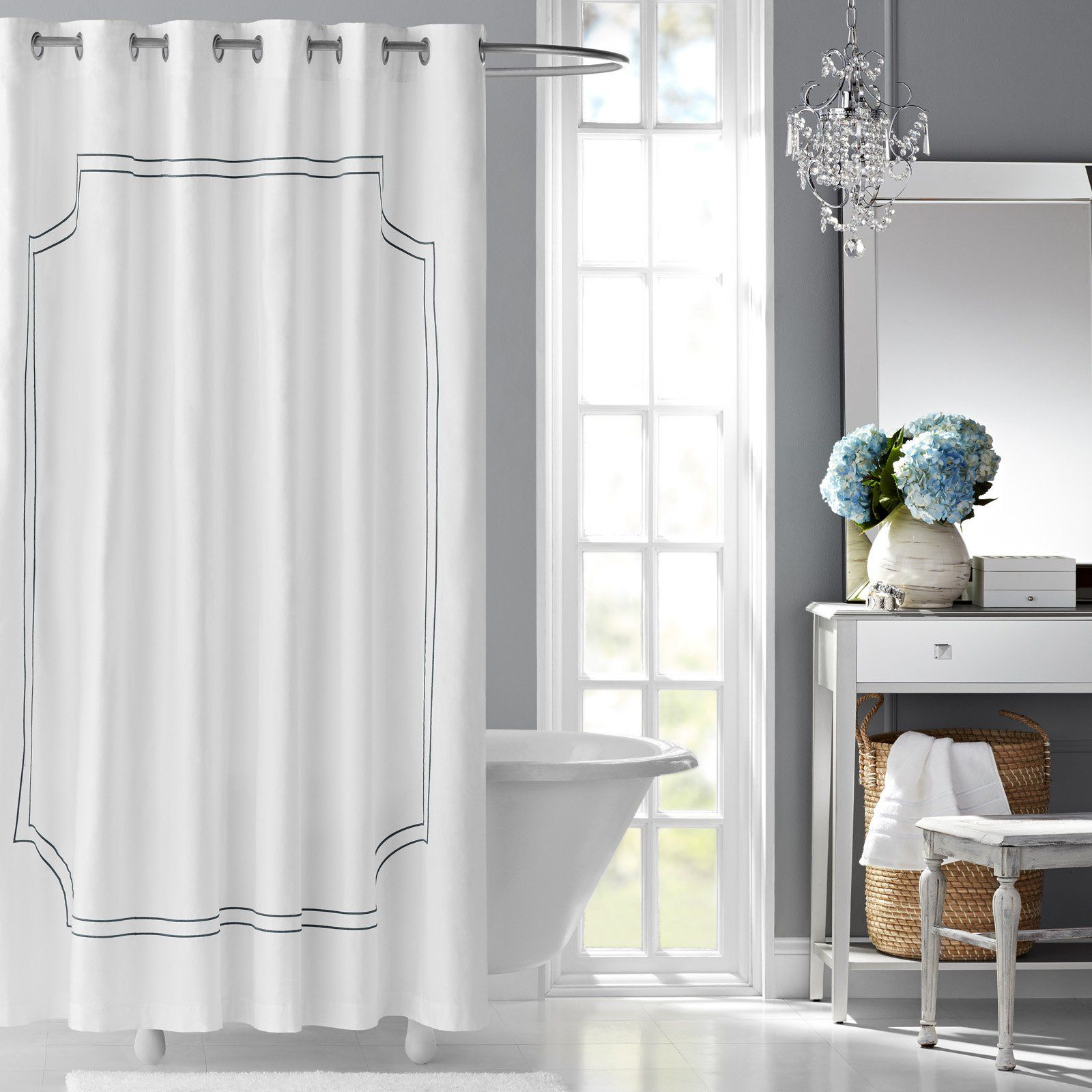 Florence Embroidered Cotton Shower Curtain By Hotel Style White