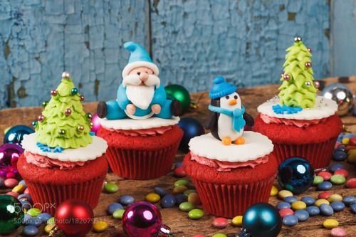 Christmas cupcakes with colored decorations by IgorButseroga  IFTTT 500px