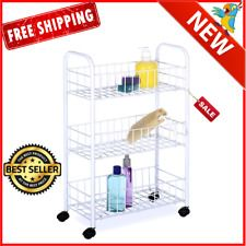 Laundry Storage Room Organizer Rolling Cart Cabinet Rack Shelves 3