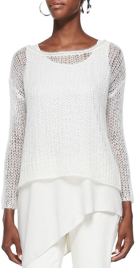 Eileen Fisher Mohair Mesh Long-Sleeve Top | camisetas tejidas ...