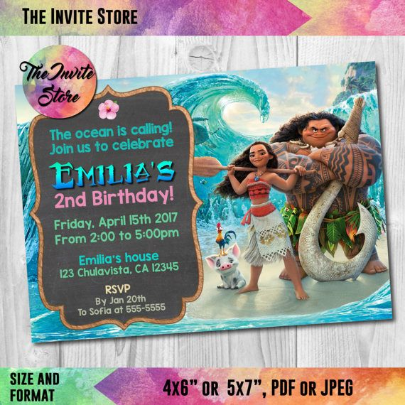 Moana Invitation For Your Girls Birthday Party Other Amazing
