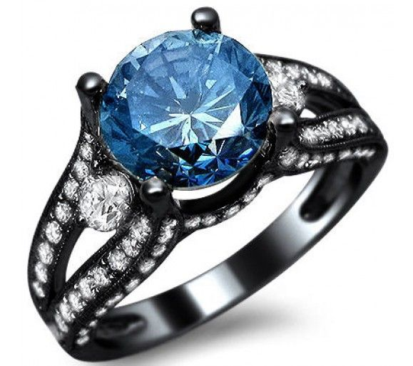 Black Gold Blue Diamond Engagement Ring Blue Engagement Ring Round Diamond Engagement Rings Blue Diamond Engagement Ring